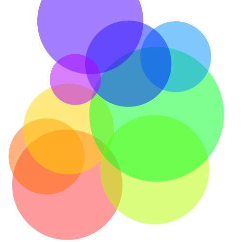 Interlocking coloured circles